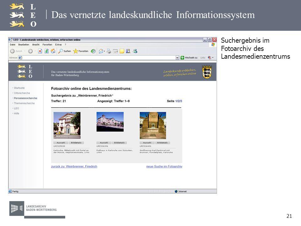 | LEOLEO 21 Das vernetzte landeskundliche Informationssystem Suchergebnis im Fotoarchiv des Landesmedienzentrums
