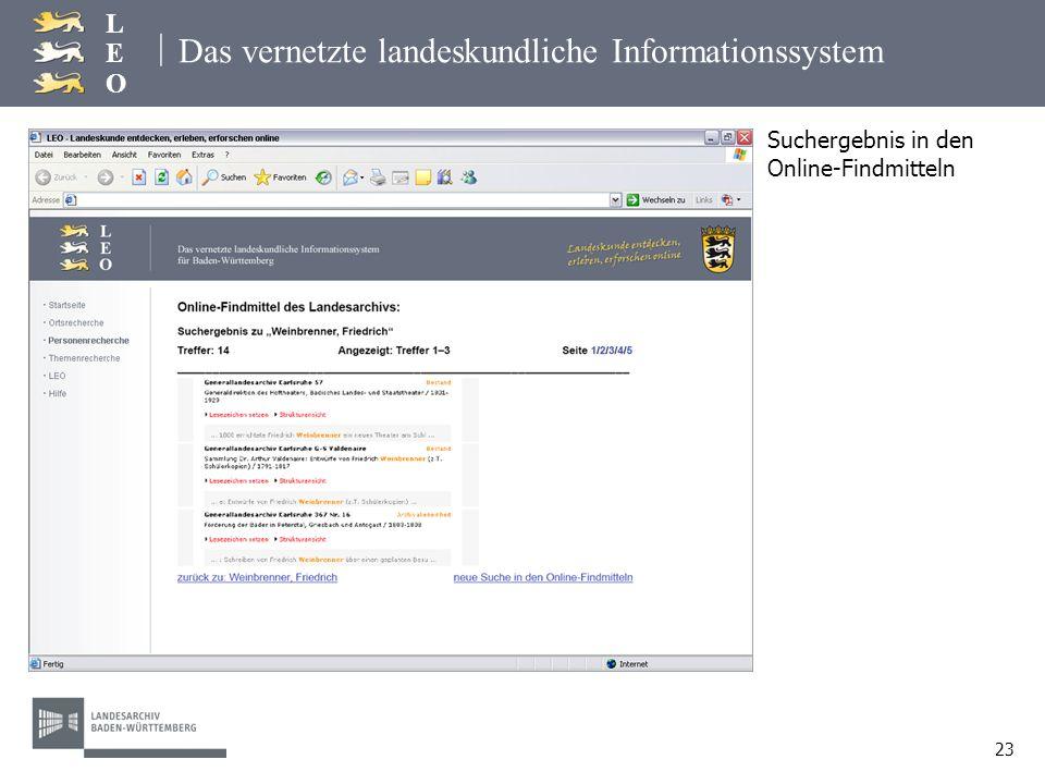 | LEOLEO 23 Das vernetzte landeskundliche Informationssystem Suchergebnis in den Online-Findmitteln