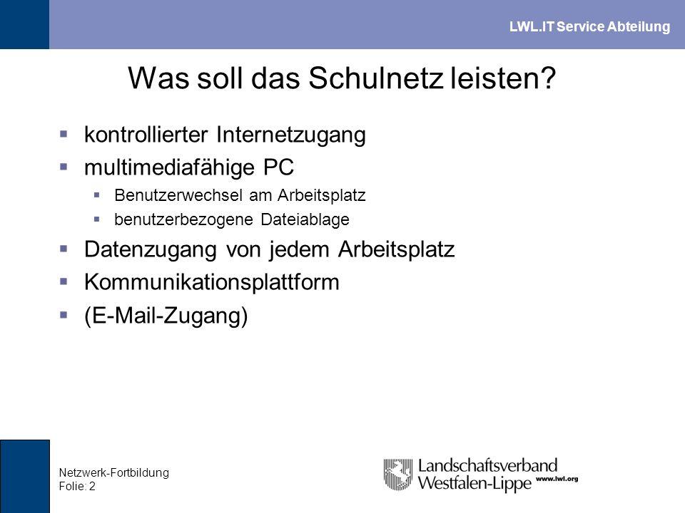 LWL.IT Service Abteilung Netzwerk-Fortbildung Folie: 13 Laufwerke und Berechtigungen LaufwerkBeschreibungSchülerLehrer U: Home-Laufwerk des angemeldeten Benutzers Privates Benutzerlaufwerk.