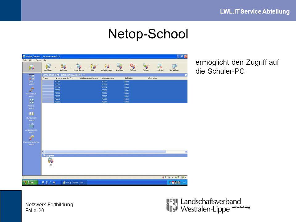 LWL.IT Service Abteilung Netzwerk-Fortbildung Folie: 20 Netop-School ermöglicht den Zugriff auf die Schüler-PC