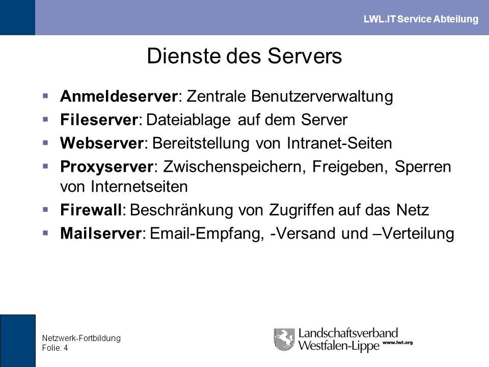 LWL.IT Service Abteilung Netzwerk-Fortbildung Folie: 4 Dienste des Servers Anmeldeserver: Zentrale Benutzerverwaltung Fileserver: Dateiablage auf dem