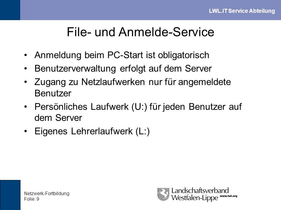 LWL.IT Service Abteilung Netzwerk-Fortbildung Folie: 9 File- und Anmelde-Service Anmeldung beim PC-Start ist obligatorisch Benutzerverwaltung erfolgt