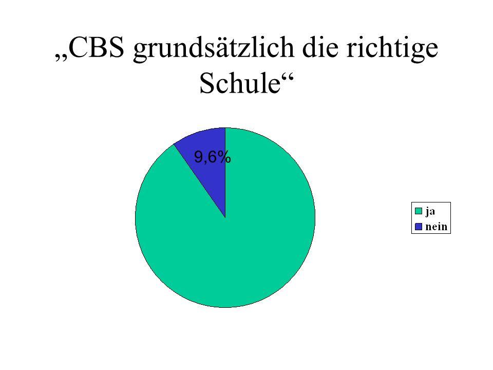 CBS grundsätzlich die richtige Schule 9,6%