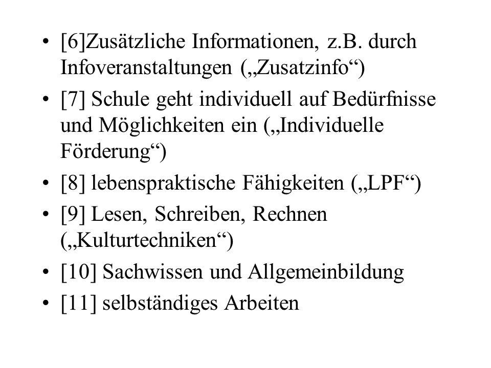 [6]Zusätzliche Informationen, z.B. durch Infoveranstaltungen (Zusatzinfo) [7] Schule geht individuell auf Bedürfnisse und Möglichkeiten ein (Individue