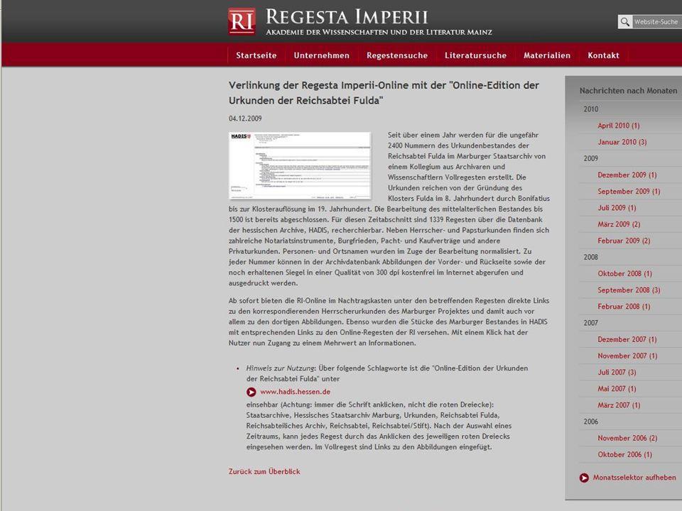 Hessisches Hauptstaatsarchiv seit 2002: www.nachlassdatenbank.de – des Bundesarchivs seit 2006: www.bam-portal.de – Landesarchiv Baden-Württemberg seit 2007: www.michael-portal.de – Bestände mit Digitalisaten 2009: Schnittstellen zu Referenzanwendung für Archivportal D seit 2009: www.regesta-imperii.de – Urkunden des Staatsarchivs Marburg Projekte 2010: Deutsche Digitale Bibliothek / Europeana LAGIS Vernetzung mit anderen Suchportalen 12