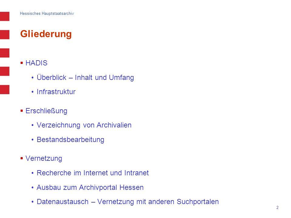 Hessisches Hauptstaatsarchiv 2 Gliederung HADIS Überblick – Inhalt und Umfang Infrastruktur Erschließung Verzeichnung von Archivalien Bestandsbearbeit