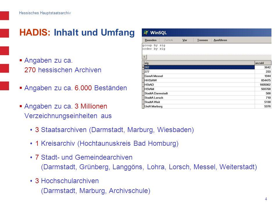 Hessisches Hauptstaatsarchiv 4 HADIS: Inhalt und Umfang Angaben zu ca. 270 hessischen Archiven Angaben zu ca. 6.000 Beständen Angaben zu ca. 3 Million