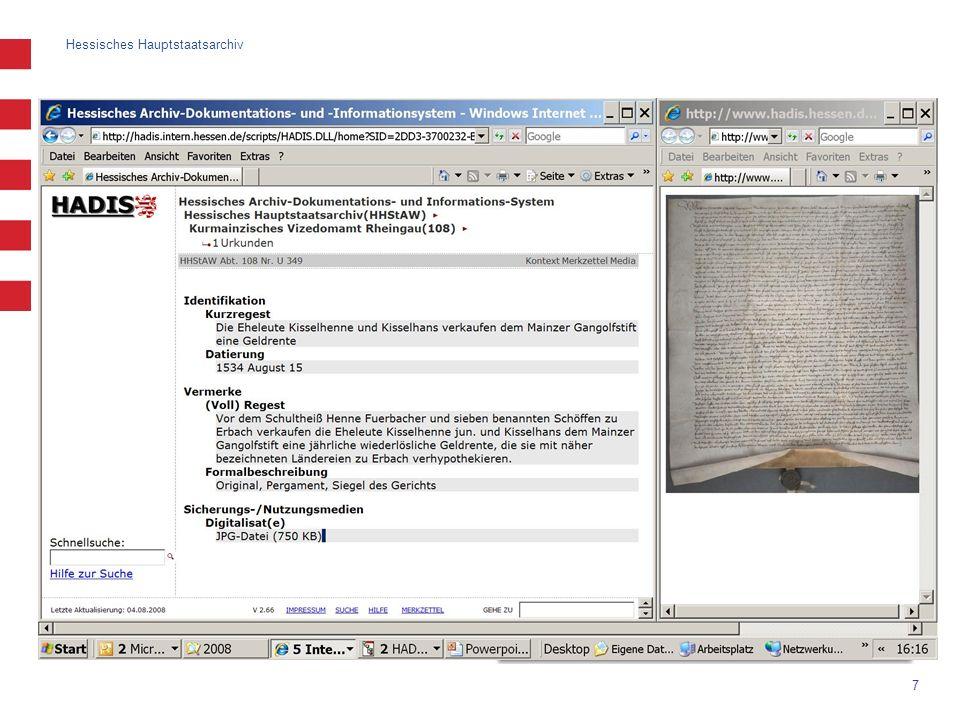 Hessisches Hauptstaatsarchiv 8 Erschließung: Bestandsbearbeitung intuitive Bearbeitung der Klassifikation (Verschieben mit Drag & Drop) Hinweise auf fehlende Stückverzeichnungen (Datenschutz oder Erschließungsrückstand) verschiedene Nummierungsarten der Gliederungspunkte (kombinierbar) Bestandsbeschreibung: verschiedene Felder zur Auswahl Verschiebung von Beständen in der Tektonik (Drag & Drop)