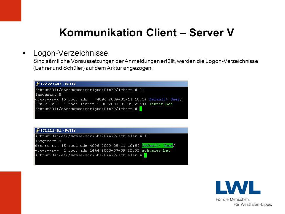 Kommunikation Client – Server V Logon-Verzeichnisse Sind sämtliche Voraussetzungen der Anmeldungen erfüllt, werden die Logon-Verzeichnisse (Lehrer und