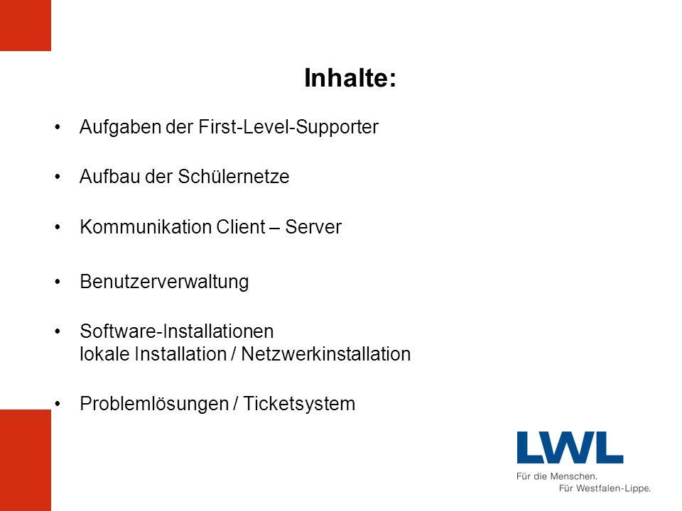 Inhalte: Aufgaben der First-Level-Supporter Aufbau der Schülernetze Kommunikation Client – Server Benutzerverwaltung Software-Installationen lokale In