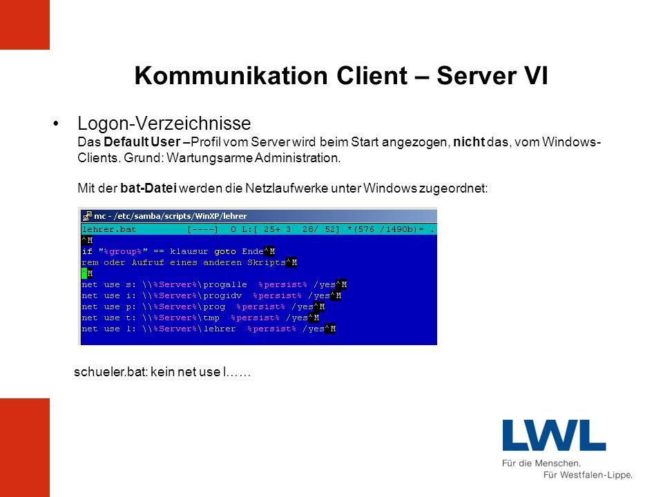 Kommunikation Client – Server VI Logon-Verzeichnisse Das Default User –Profil vom Server wird beim Start angezogen, nicht das, vom Windows- Clients. G