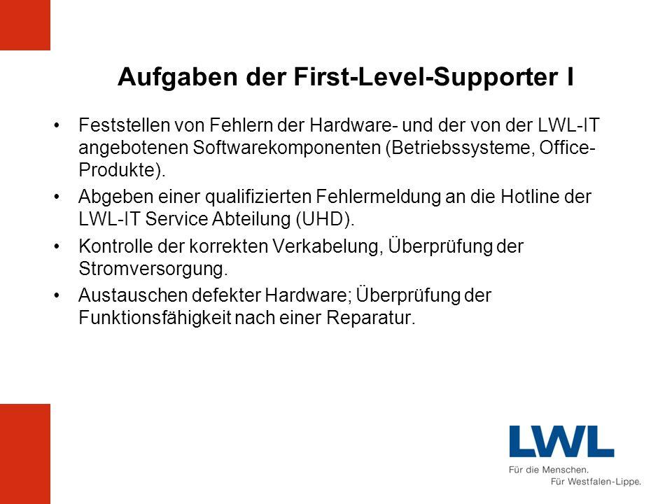 Aufgaben der First-Level-Supporter I Feststellen von Fehlern der Hardware- und der von der LWL-IT angebotenen Softwarekomponenten (Betriebssysteme, Of