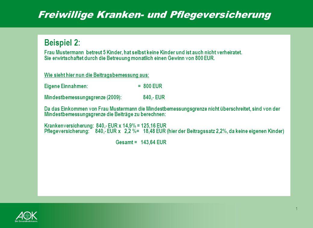 Freiwillige Kranken- und Pflegeversicherung 1 Fortsetzung Beispiel 1: Frau Mustermann nimmt ab dem 01.05.2009 noch ein weiteres Kind in die Betreuung.