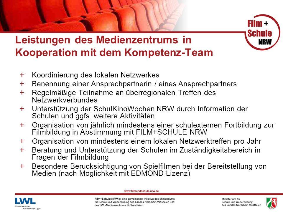 Leistungen des Medienzentrums in Kooperation mit dem Kompetenz-Team + Koordinierung des lokalen Netzwerkes + Benennung einer Ansprechpartnerin / eines