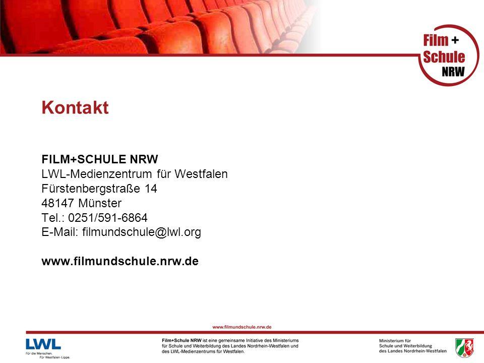 Kontakt FILM+SCHULE NRW LWL-Medienzentrum für Westfalen Fürstenbergstraße 14 48147 Münster Tel.: 0251/591-6864 E-Mail: filmundschule@lwl.org www.filmu
