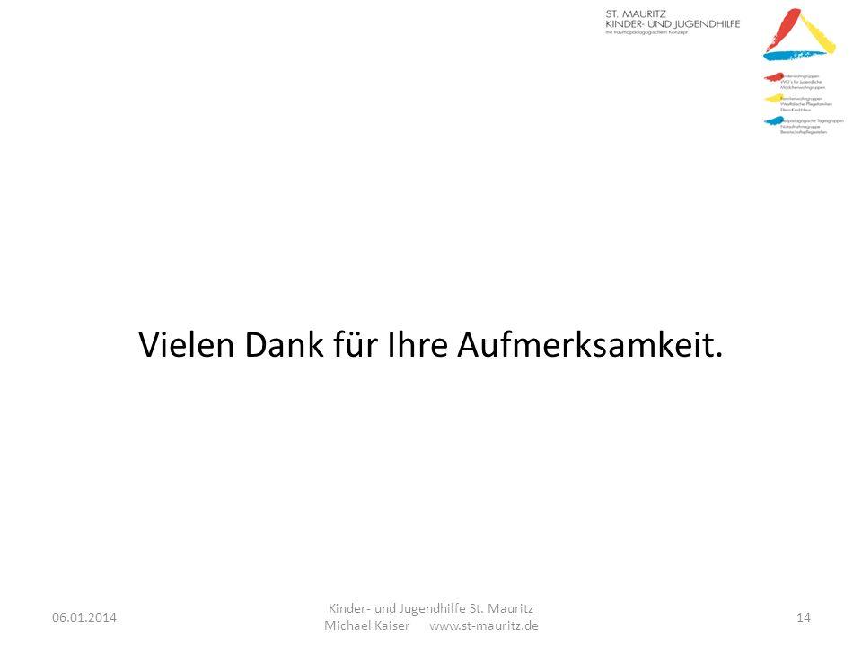 Vielen Dank für Ihre Aufmerksamkeit. 06.01.2014 Kinder- und Jugendhilfe St. Mauritz Michael Kaiser www.st-mauritz.de 14