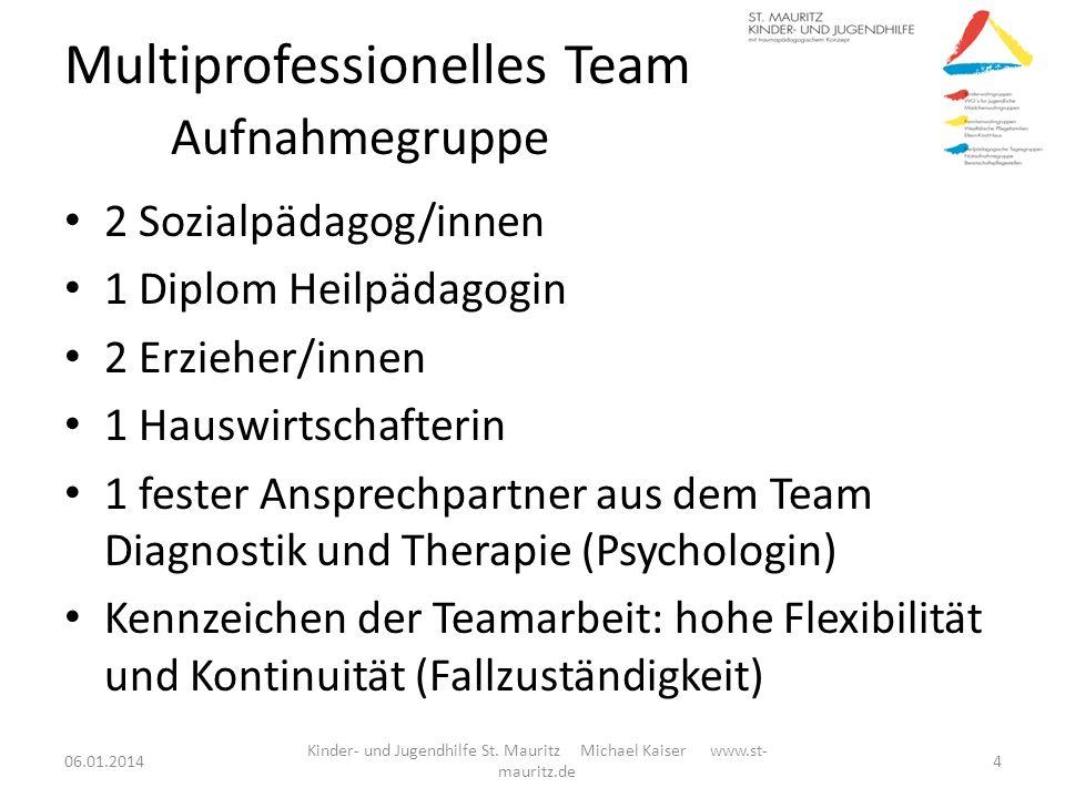 Multiprofessionelles Team Aufnahmegruppe 2 Sozialpädagog/innen 1 Diplom Heilpädagogin 2 Erzieher/innen 1 Hauswirtschafterin 1 fester Ansprechpartner a