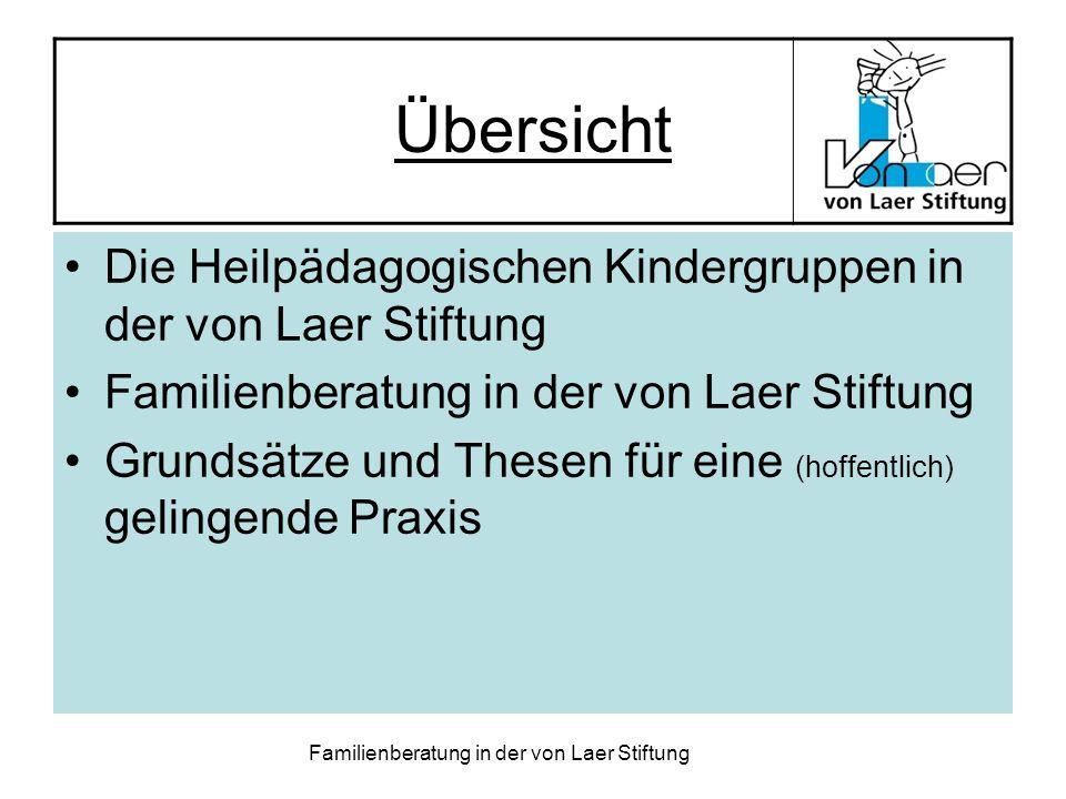 Familienberatung in der von Laer Stiftung Übersicht Die Heilpädagogischen Kindergruppen in der von Laer Stiftung Familienberatung in der von Laer Stif