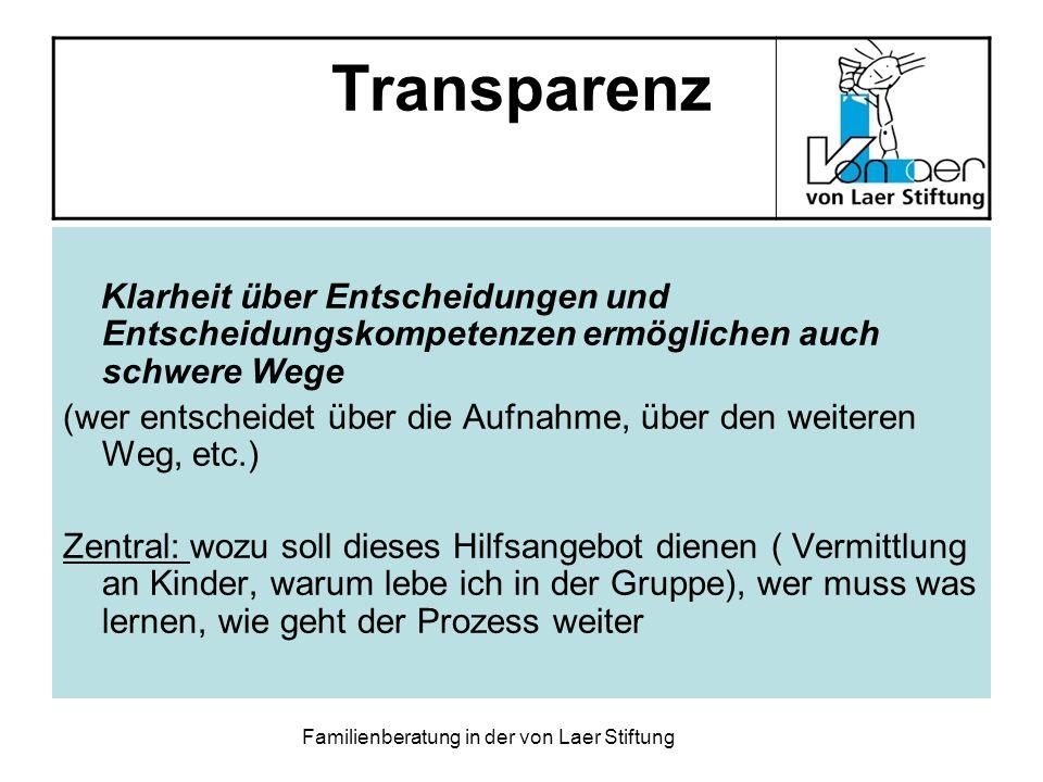 Familienberatung in der von Laer Stiftung Transparenz Klarheit über Entscheidungen und Entscheidungskompetenzen ermöglichen auch schwere Wege (wer ent