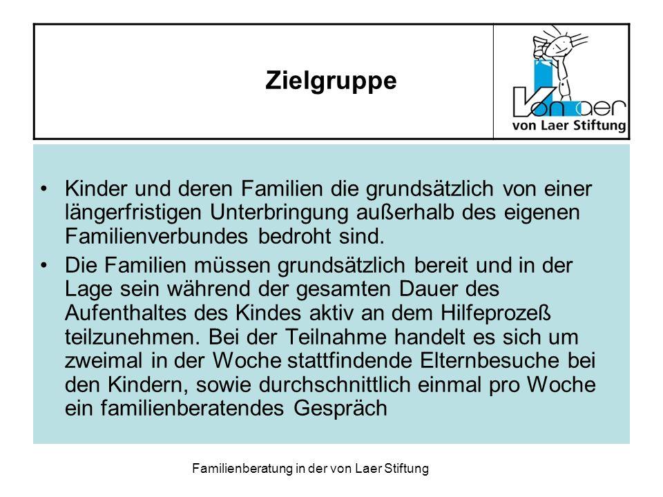 Familienberatung in der von Laer Stiftung Zielgruppe Kinder und deren Familien die grundsätzlich von einer längerfristigen Unterbringung außerhalb des