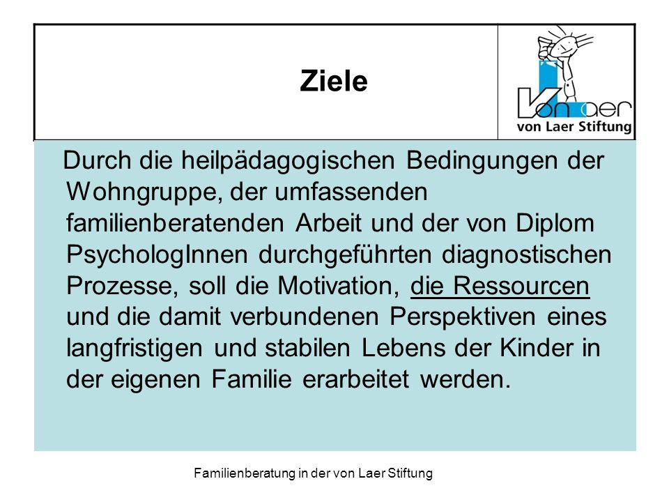 Familienberatung in der von Laer Stiftung Ziele Durch die heilpädagogischen Bedingungen der Wohngruppe, der umfassenden familienberatenden Arbeit und