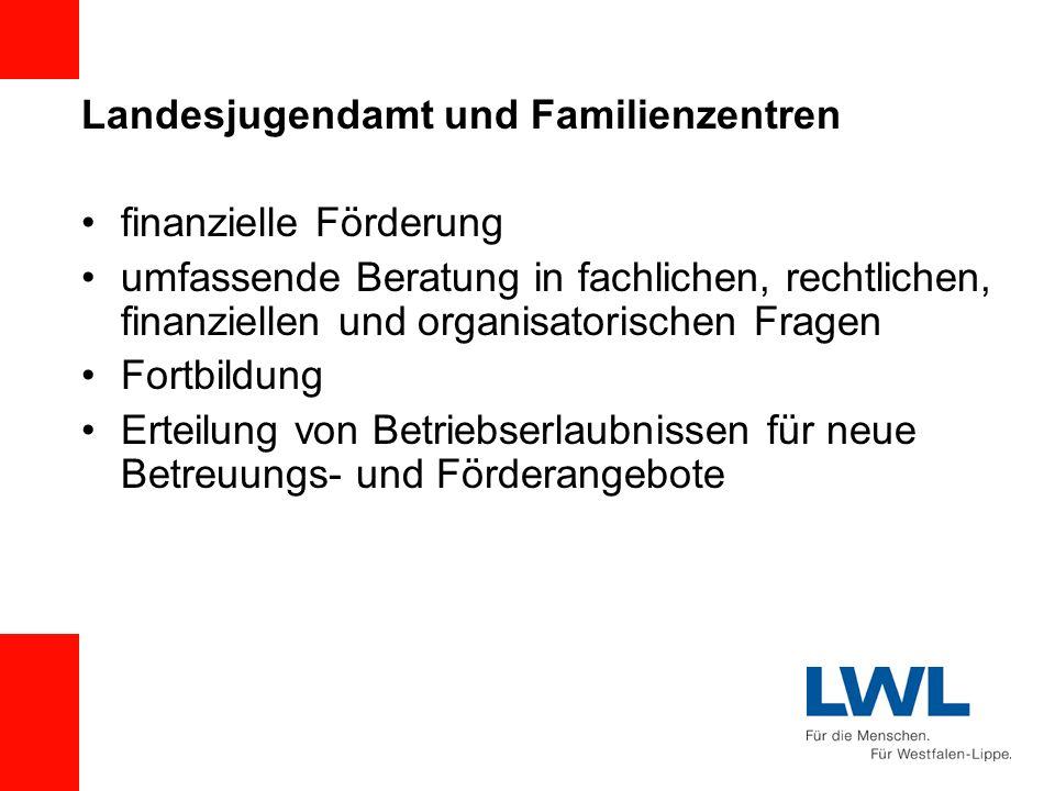 Landesjugendamt und Familienzentren finanzielle Förderung umfassende Beratung in fachlichen, rechtlichen, finanziellen und organisatorischen Fragen Fo