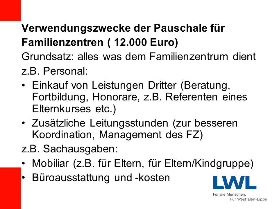 Verwendungszwecke der Pauschale für Familienzentren ( 12.000 Euro) Grundsatz: alles was dem Familienzentrum dient z.B. Personal: Einkauf von Leistunge