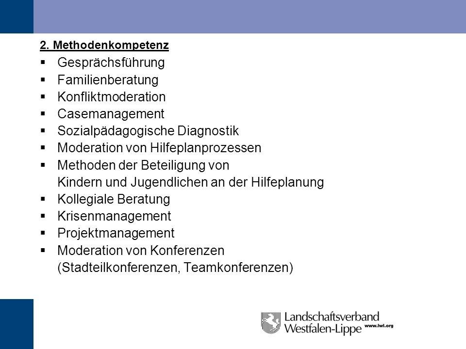 2. Methodenkompetenz Gesprächsführung Familienberatung Konfliktmoderation Casemanagement Sozialpädagogische Diagnostik Moderation von Hilfeplanprozess