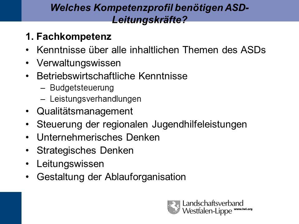 Welches Kompetenzprofil benötigen ASD- Leitungskräfte? 1. Fachkompetenz Kenntnisse über alle inhaltlichen Themen des ASDs Verwaltungswissen Betriebswi