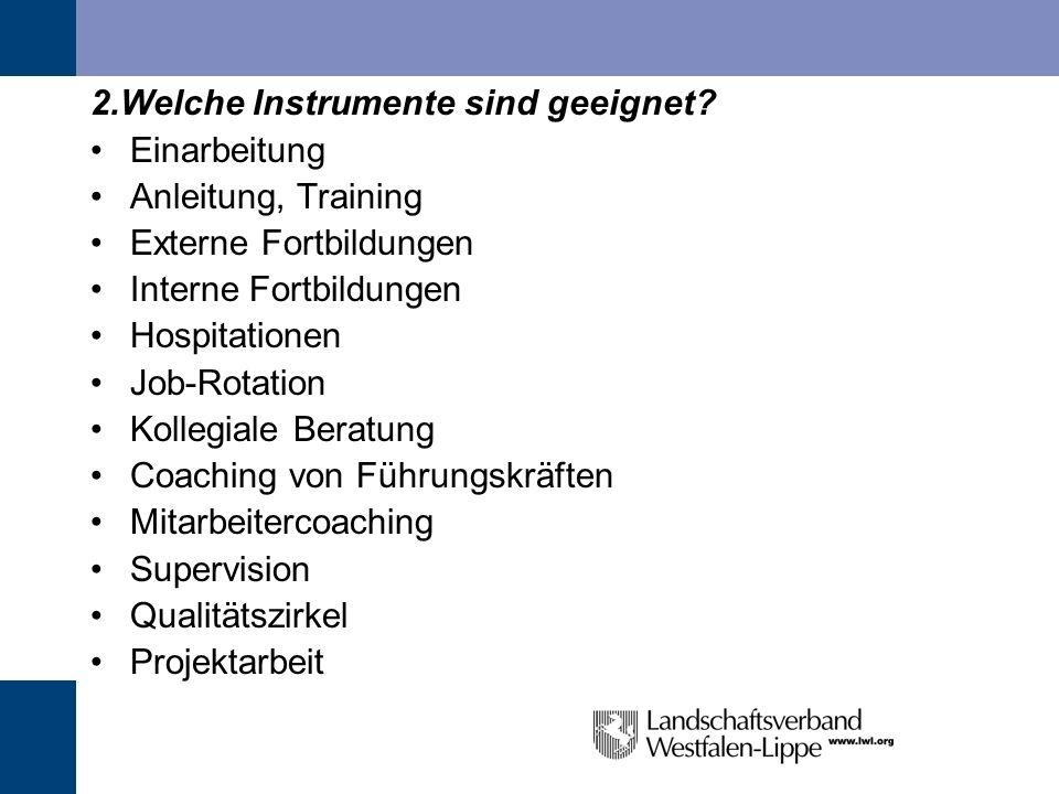 2.Welche Instrumente sind geeignet? Einarbeitung Anleitung, Training Externe Fortbildungen Interne Fortbildungen Hospitationen Job-Rotation Kollegiale