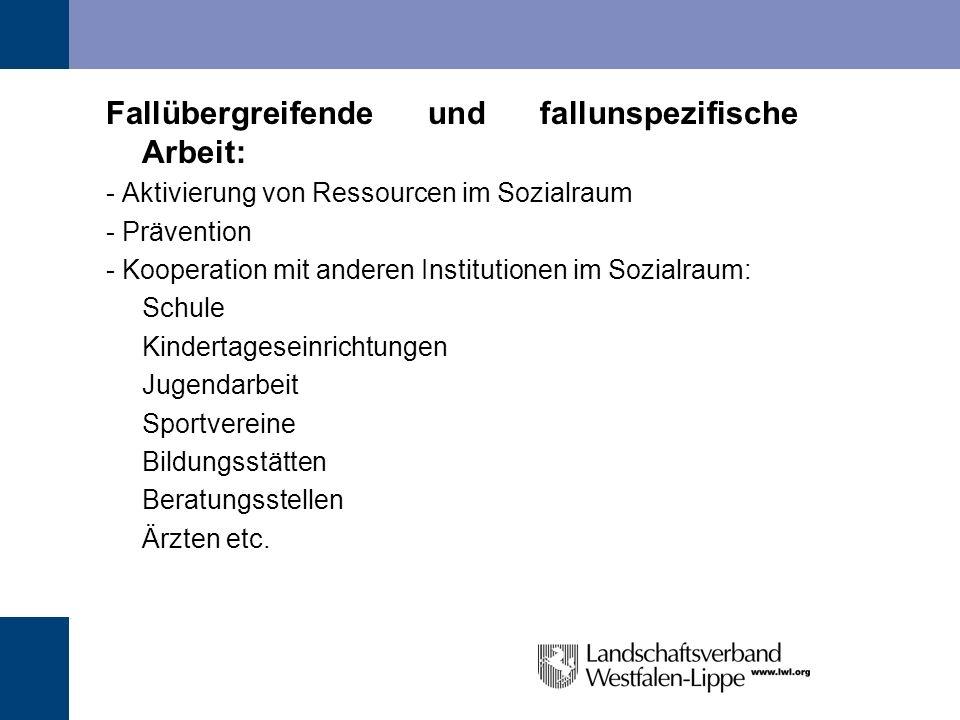 Fallübergreifende und fallunspezifische Arbeit: - Aktivierung von Ressourcen im Sozialraum - Prävention - Kooperation mit anderen Institutionen im Soz