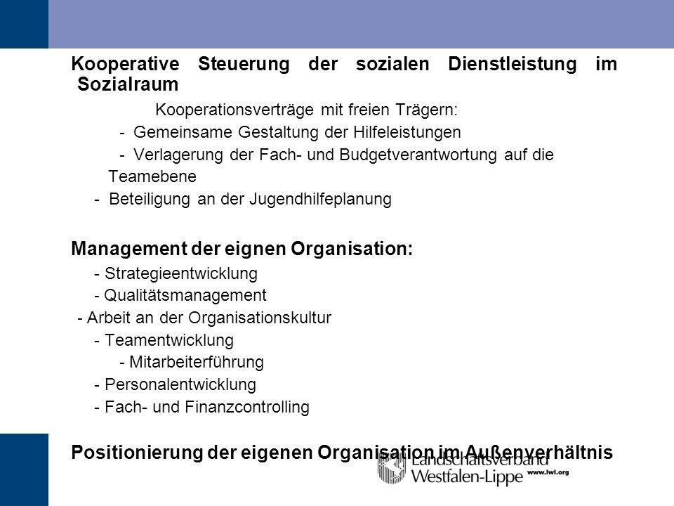 Kooperative Steuerung der sozialen Dienstleistung im Sozialraum Kooperationsverträge mit freien Trägern: - Gemeinsame Gestaltung der Hilfeleistungen -