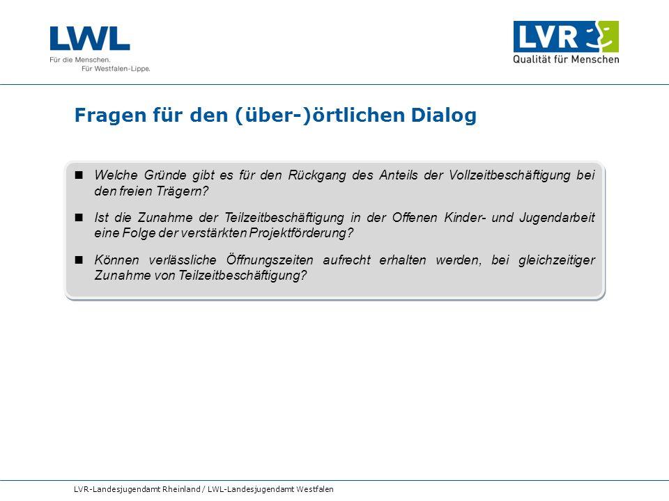 Fragen für den (über-)örtlichen Dialog LVR-Landesjugendamt Rheinland / LWL-Landesjugendamt Westfalen Welche Gründe gibt es für den Rückgang des Anteil