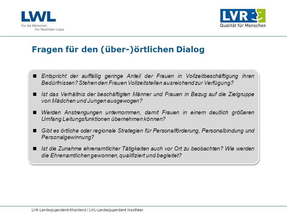 Fragen für den (über-)örtlichen Dialog LVR-Landesjugendamt Rheinland / LWL-Landesjugendamt Westfalen Entspricht der auffällig geringe Anteil der Fraue