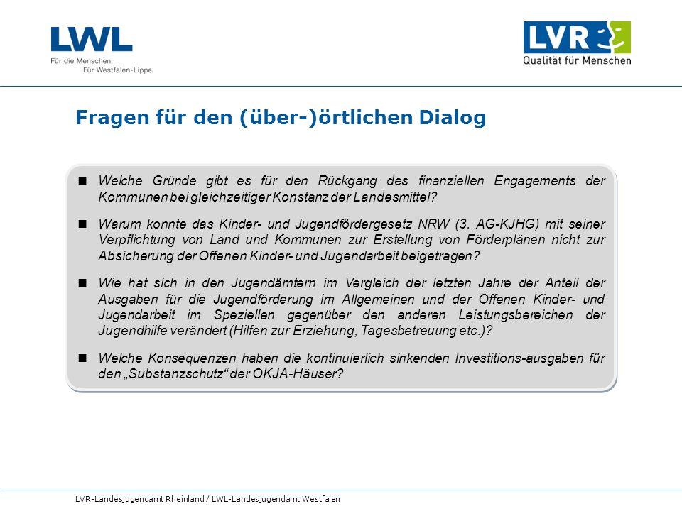 Fragen für den (über-)örtlichen Dialog LVR-Landesjugendamt Rheinland / LWL-Landesjugendamt Westfalen Welche Gründe gibt es für den Rückgang des finanz