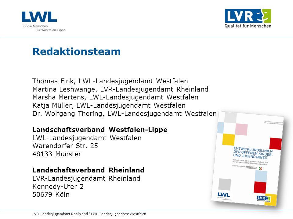 Redaktionsteam Thomas Fink, LWL-Landesjugendamt Westfalen Martina Leshwange, LVR-Landesjugendamt Rheinland Marsha Mertens, LWL-Landesjugendamt Westfal