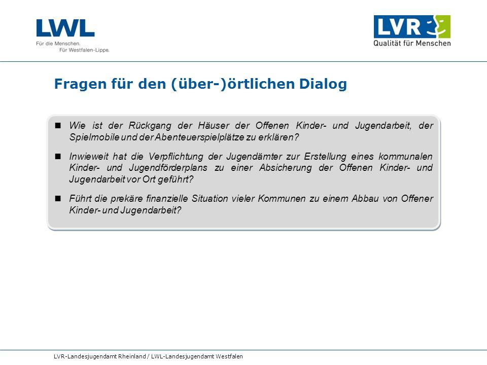 Fragen für den (über-)örtlichen Dialog LVR-Landesjugendamt Rheinland / LWL-Landesjugendamt Westfalen Wie ist der Rückgang der Häuser der Offenen Kinde