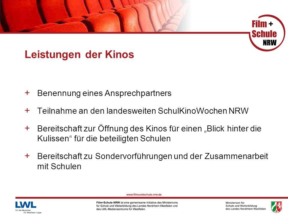 Leistungen der Kinos + Benennung eines Ansprechpartners + Teilnahme an den landesweiten SchulKinoWochen NRW + Bereitschaft zur Öffnung des Kinos für e