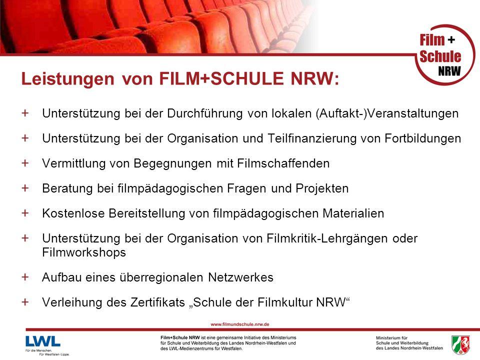 Leistungen von FILM+SCHULE NRW: + Unterstützung bei der Durchführung von lokalen (Auftakt-)Veranstaltungen + Unterstützung bei der Organisation und Te