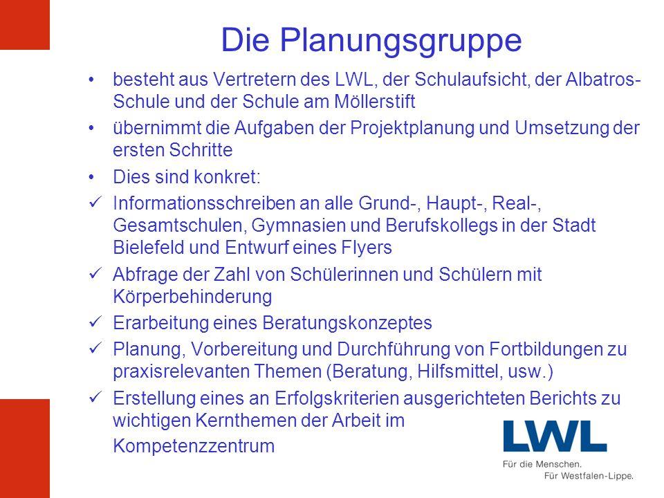 Die Steuergruppe wird gebildet durch Vertreter der Albatros-Schule / LWL / Stadt Bielefeld / Schule am Möllerstift GmbH als Auftraggeber und Träger de