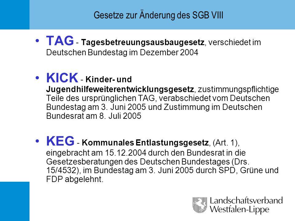 Gesetze zur Änderung des SGB VIII TAG - Tagesbetreuungsausbaugesetz, verschiedet im Deutschen Bundestag im Dezember 2004 KICK - Kinder- und Jugendhilf