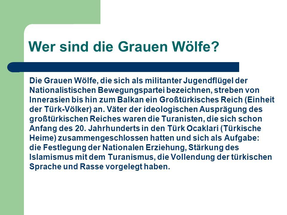 Wer sind die Grauen Wölfe? Die Grauen Wölfe, die sich als militanter Jugendflügel der Nationalistischen Bewegungspartei bezeichnen, streben von Innera