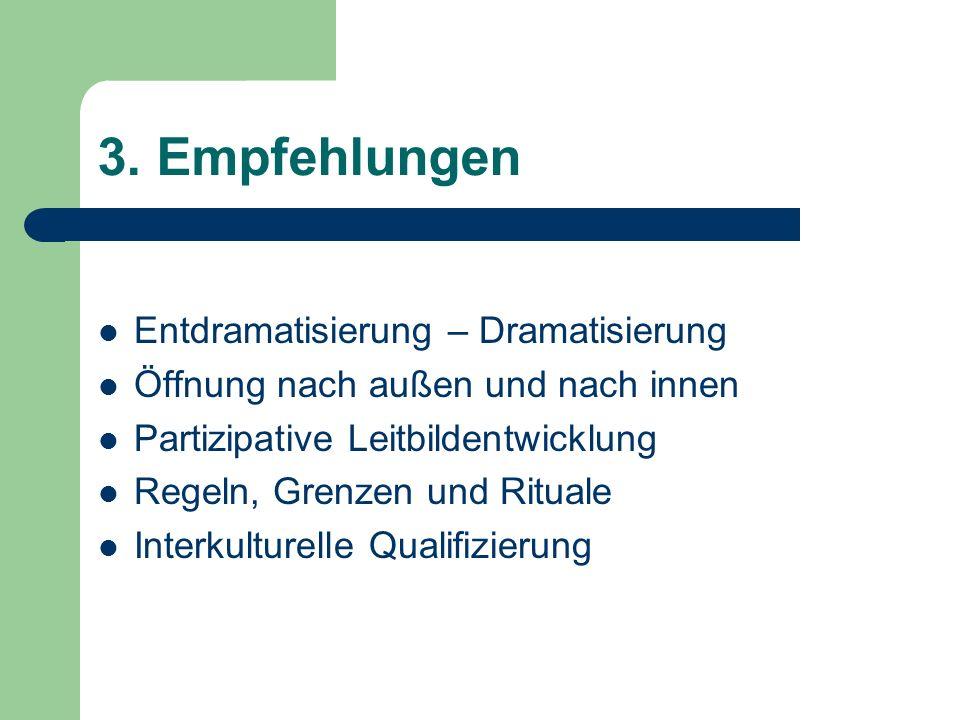 3. Empfehlungen Entdramatisierung – Dramatisierung Öffnung nach außen und nach innen Partizipative Leitbildentwicklung Regeln, Grenzen und Rituale Int