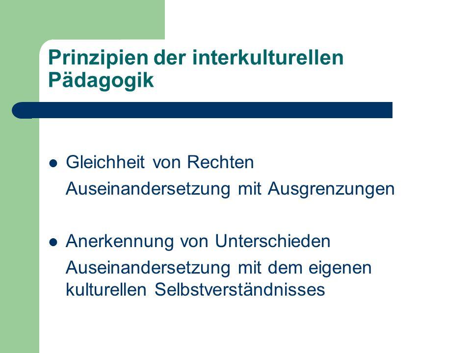 Prinzipien der interkulturellen Pädagogik Gleichheit von Rechten Auseinandersetzung mit Ausgrenzungen Anerkennung von Unterschieden Auseinandersetzung mit dem eigenen kulturellen Selbstverständnisses