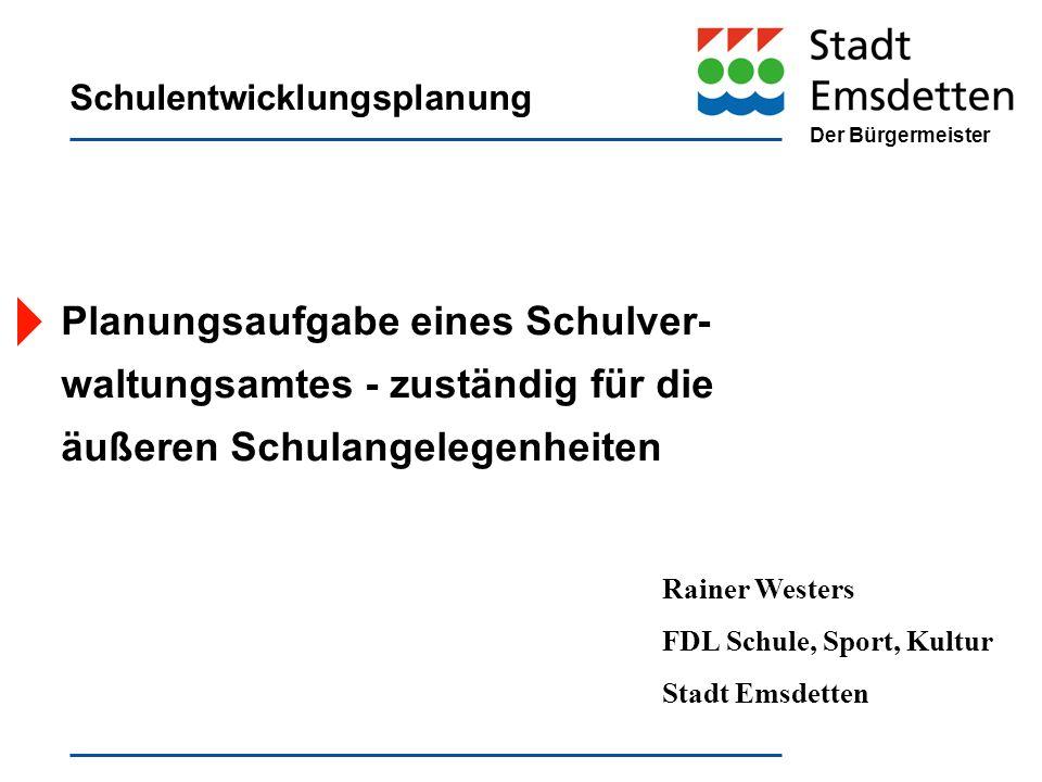 Der Bürgermeister Schulentwicklungsplanung Planungsaufgabe eines Schulver- waltungsamtes - zuständig für die äußeren Schulangelegenheiten Rainer Weste