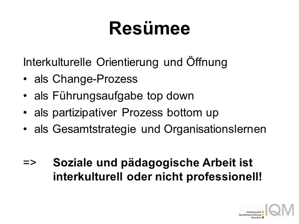 Resümee Interkulturelle Orientierung und Öffnung als Change-Prozess als Führungsaufgabe top down als partizipativer Prozess bottom up als Gesamtstrate