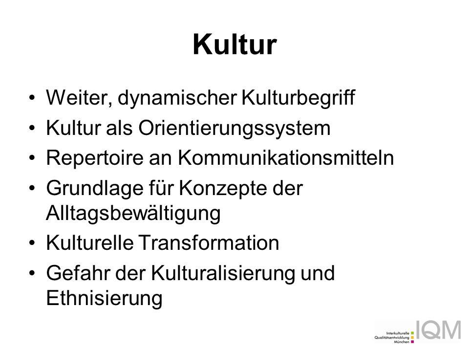 Kultur Weiter, dynamischer Kulturbegriff Kultur als Orientierungssystem Repertoire an Kommunikationsmitteln Grundlage für Konzepte der Alltagsbewältig