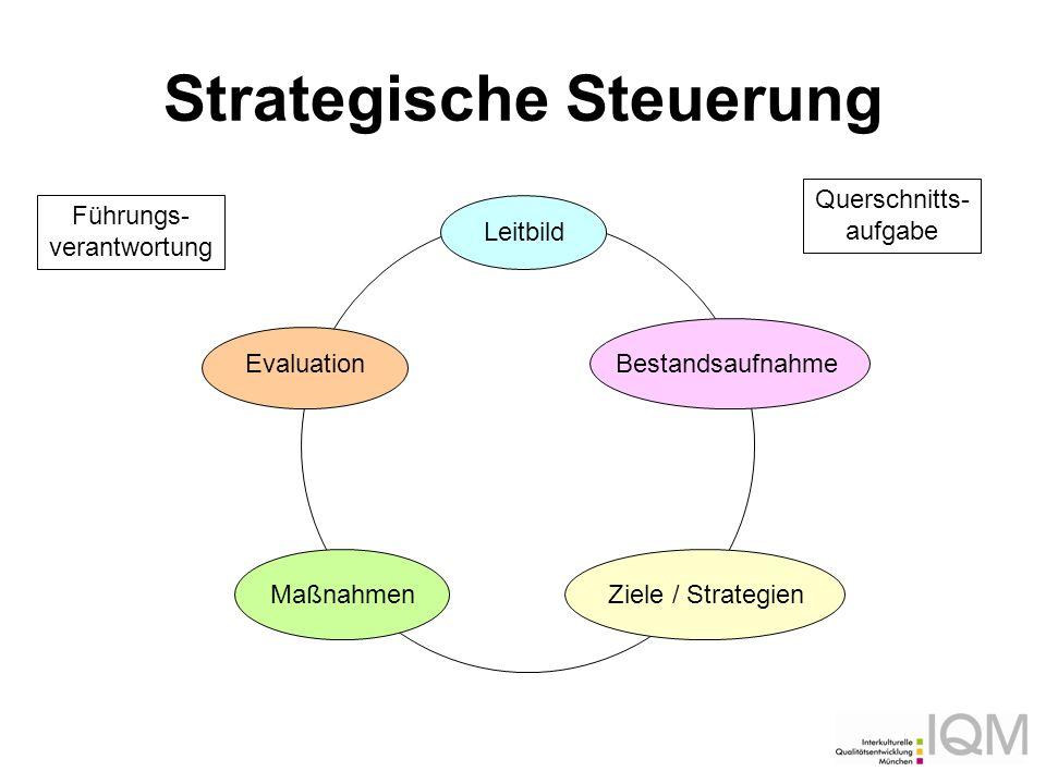 Strategische Steuerung Leitbild BestandsaufnahmeZiele / StrategienMaßnahmen Evaluation Führungs- verantwortung Querschnitts- aufgabe