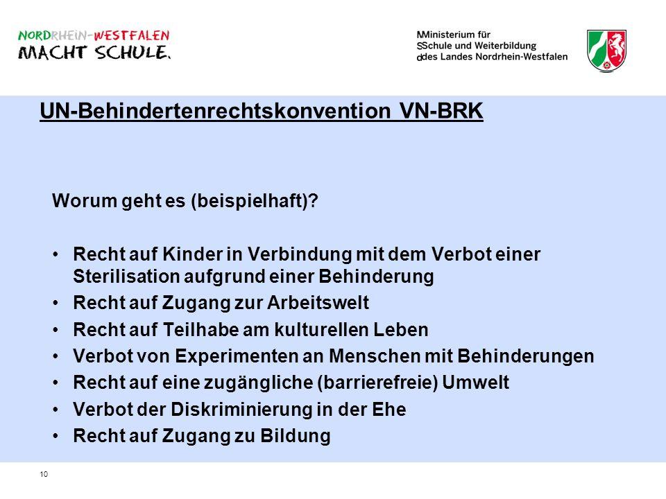 10 UN-Behindertenrechtskonvention VN-BRK Worum geht es (beispielhaft)? Recht auf Kinder in Verbindung mit dem Verbot einer Sterilisation aufgrund eine