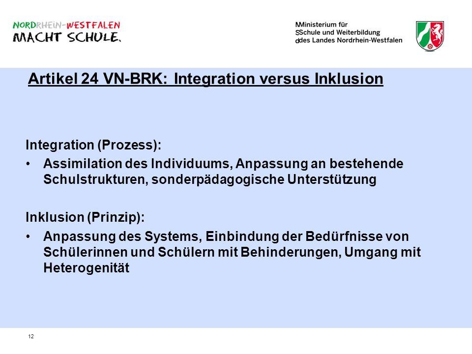 12 Artikel 24 VN-BRK: Integration versus Inklusion Integration (Prozess): Assimilation des Individuums, Anpassung an bestehende Schulstrukturen, sonde